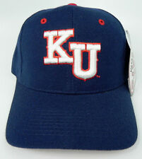 KANSAS JAYHAWKS BLUE NCAA VINTAGE FITTED ZEPHYR DH CAP HAT NWT!