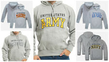 US Navy Air Force Army Marines Coast Guard USMC Gray Pullover Hoodie Sweatshirt