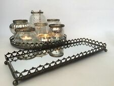 Mirror Glass Silver Tray Vintage Style Tea Light Candle Plate Christmas Weddings