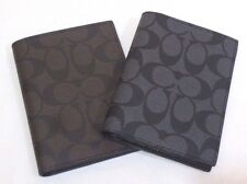 NEW Coach Signature Passport/Ticket Case Wallet Charcoal/Black;  Mahogany/Brown