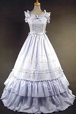 White Sleeveless Cotton Classic Elegant Lolita Dress #409 Costume Cosplay