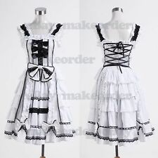 Gothic Lolita Sleeveless Black Lace White Dress Costume #114 Costume Cosplay