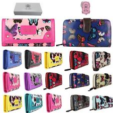 Ladies Designer Butterfly Oilcloth Patent Purse Wallet Clutch Bag Gift Boxed