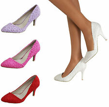 Ladies Lace Mid Heels Pointed Toe Occasion Sandals Party Prom Court Shoes Size