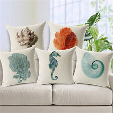 Mediterranean Animal Cushion Covers Sea Horse Cotton Linen Throw Pillow Case