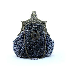 Pewter Beaded Vintage Victorian Party Handbag Clutch Prom Evening Purse Bag