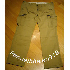 NWT ABERCROMBIE & FITCH MENS CARGO PANTS KHAKI SIZE 36X32 A&F