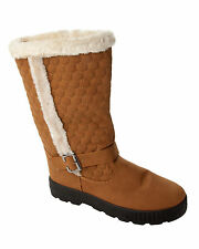 WOMENS TAN FULLY FUR LINED BUCKLE MID CALF FLAT WINTER ZIP BOOTS LADIES SIZE