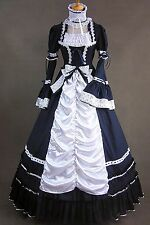 Dark Blue & White Lace Bow Cotton Gothic Elegant Lolita Dress #415 Costume