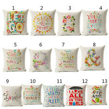 Love Floral Cushion Covers  Cotton Linen Throw Pillow Case