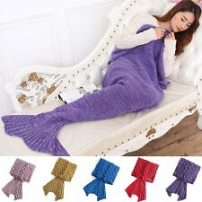 Super Soft Crocheted Mermaid Tail Blanket Knitting Kids&Adult Sofa Sleeping Bag