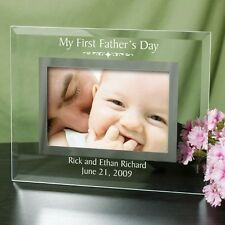 Personalized First Fathers Day Picture Frame Glass 1st Fathers Day Photo Frame