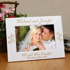 Personalized  Wedding Picture Frame Engraved White Wedding Photo Frame 2 sizes