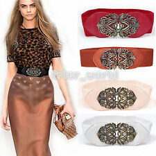 Retro Adjustable Flower Elastic Stretch Buckle Fashion Wide Waist Belt Waistband