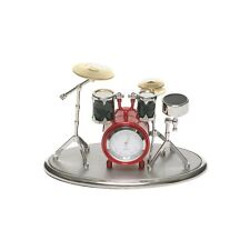 Collectable Techno Silver/Red Novelty Drum Kit Miniature Clock.Quartz Timepiece