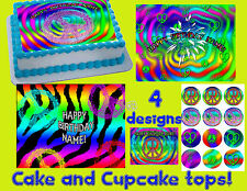 Peace sign hippie retro Cake & Cupcake toppers Edible image FROSTING sugar disco