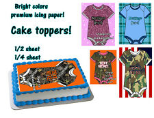 BABY shower camouflage topper Edible image FROSTING SHEET party for cake shirt