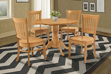 "42"" ROUND TABLE DINETTE KITCHEN DINING ROOM SET WITH AVON CHAIRS IN OAK FINISH"