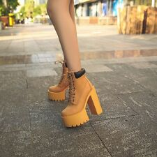 New Fashion Womens Block High Heels Booties Platform Shoes Lace Up Martin Boots