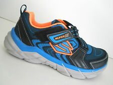 SKECHERS 95241 RIVE VELCRO ATHLETIC SHOES- YOUTH/BOYS SHOES- BL/BK - NEW - #4294