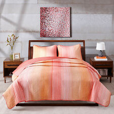 Beautiful Modern Ombre Striped Coral 3-PC Coverlet Set Twin Full/Queen King