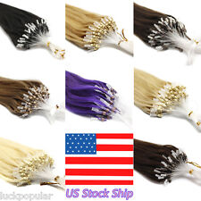 Loop Micro Ring Beads Tipped Remy Human Hair Extension 18''20'' 50g 100g US Ship