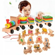 Toddle Baby Kid Wooden Toys Stacking Train Geometric Stacker Building MDWK