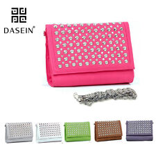 New Studded Women Leather Evening Clutch Crossbody Bag Handbag Day Purse Wallet