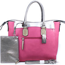 Women Handbag Two Tone Shoulder Bag Metallic Tote with Coin Pouch