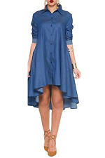 Fashion Sexy Women's Summer Blue Denim Collared Shirt Long Sleeved Midi Dress