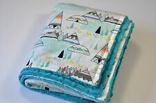 Handmade MINKY Baby Toddler TEEPEE TRIBAL ARROW Crib Receiving Stroller Blanket