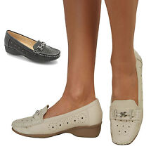 Womens Wide Fit Slip On Comfort Mid Low Wedge Heel Casual Court Shoe Size  3-8