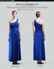 Women Blue Long Prom Dresses Formal Party Evening dress Ball Gown One Shoulder