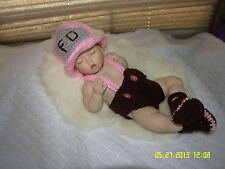 HAND CROCHET~~  GIRL'S PINK FIREMAN'S HAT,BOOTS & DIAPER COVER~0 to 3 MONTHS