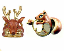 Three-part Ring with Squirrel or Hirsch, gold coloured and enamelled