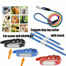 2Pcs Custom Dog Pets (Collar+Traction Rope) Personalised Engraved Lead Leash Set