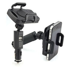 Dual USB Car Charger Holder Mount With Cigarette Lighter Charger For Cell Phones