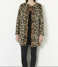 Women Leopard Faux Fox Fur Collar Winter Fur Coat Jacket Middle Long Western