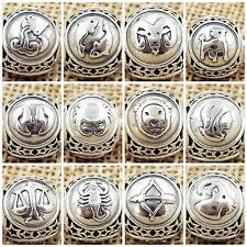 HOROSCOPE ZODIAC STAR SIGN  925 Sterling Silver Solid European Charm Bead