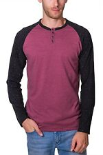 Raglan Henley Shirt NEW Mens Black and Red Long Sleeve 3 Button PX Speckle