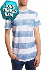 Long Curved Striped T-Shirt Short Sleeve NEW Mens PX White Patch Pocket