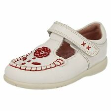 STARTRITE GIRLS T-BAR SHOES 'LEILA' WHITE LEATHER