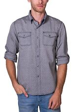 Shirt All Over Ditsy Print Long Sleeve Button Down NEW Mens Black PX