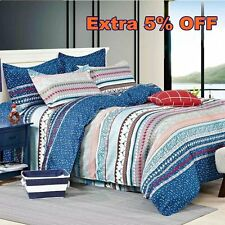 Nautical Striped Doona Quilt Duvet Cover Set with Zip Double Queen King Size Bed
