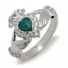 Solid Silver Green Agate Irish Celtic Claddagh Ring Made In Ireland Gift Boxed