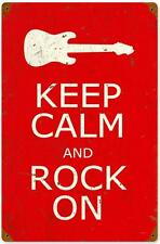 Vintage Keep Calm Rock On Guitar Music Metal Sign Man Cave Garage Club Decor 015