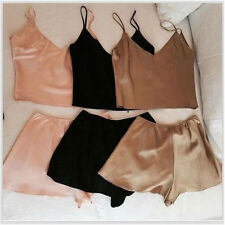 2PCS Sexy Womens Soft Lingerie Crop Tops + Shorts Pants Pajamas Set Sleepwear