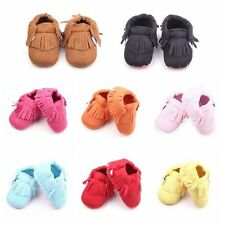 Kids Baby Boys Girl Tassel Soft Sole Suede Leather Shoes Moccasin Sneakers 0-12M
