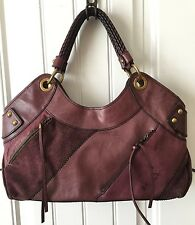 FOSSIL Fifty Four Whitney Satchel Leather Suede SHOULDER BAG Purple Eggplant