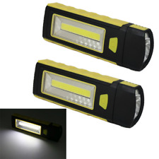 2pcs LED COB Camping Work Inspection Light Lamp Hand Torch Magnetic BE